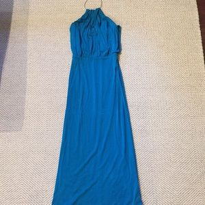 Trina Turk turquoise maxi dress with gold chain
